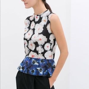ANTHROPOLOGIE PHILOSOPHY Floral Peplum Scuba Top